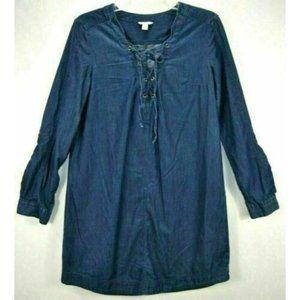 Cato Womens Dress M Blue Denim Jean Chambray Long